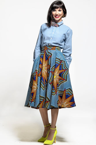 Blue African print midi skirt from A Leap of Style