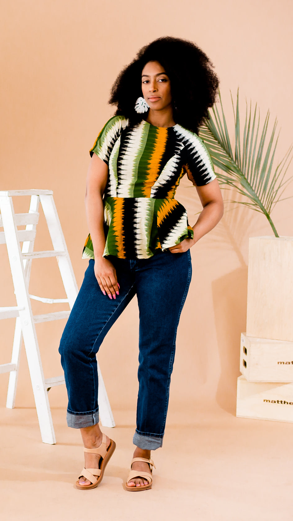 Tribe Stripe Viv Peplum Top