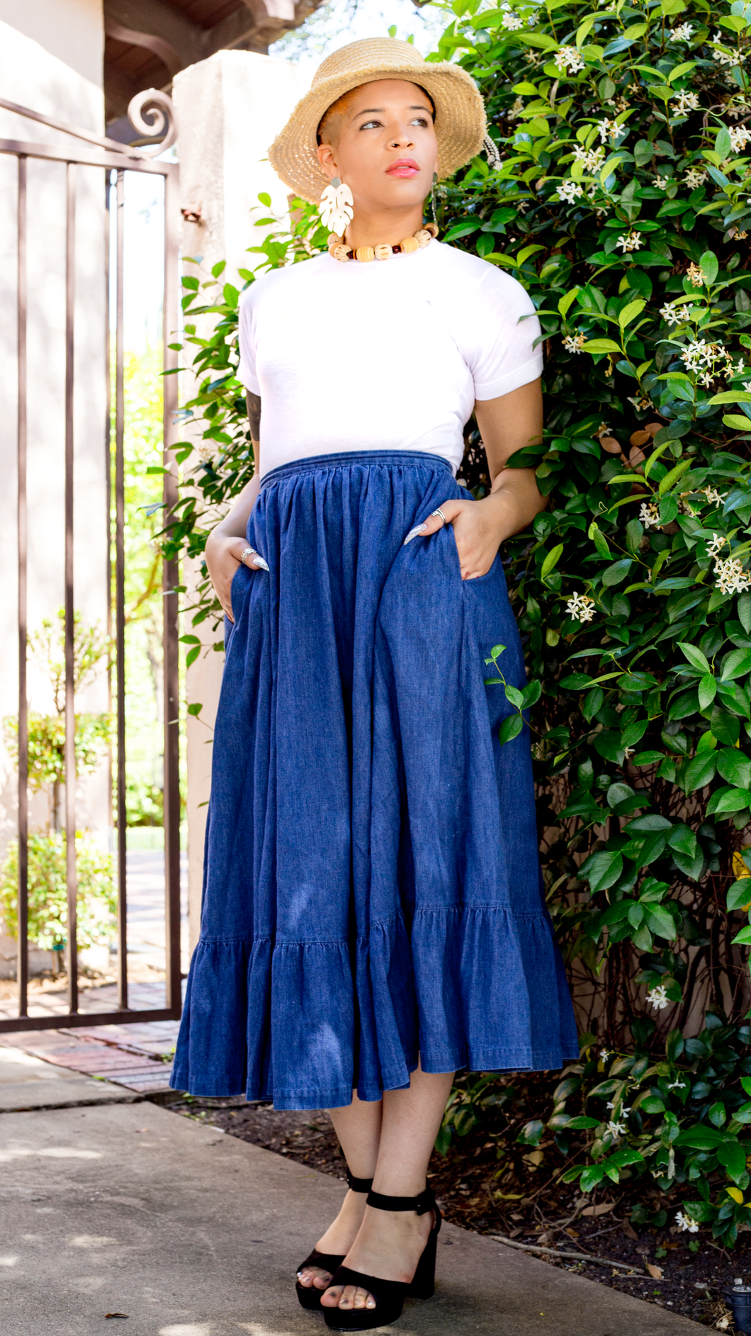 Vintage Denim Ruffle Skirt