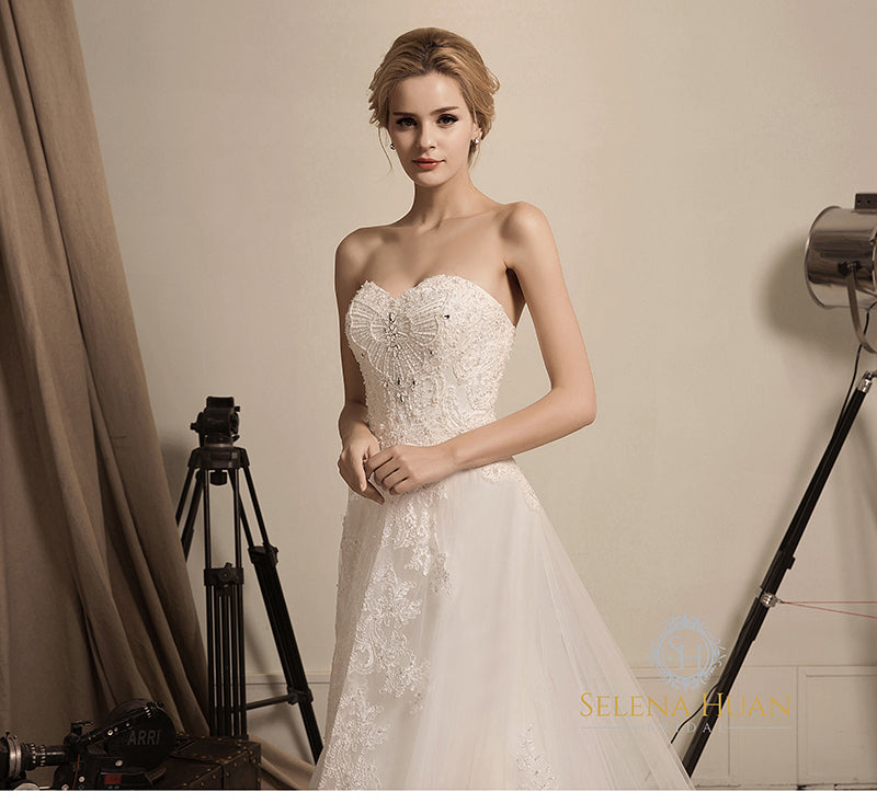 Butterfly Love Selena Huan Strapless Beaded Corded Lace A Line