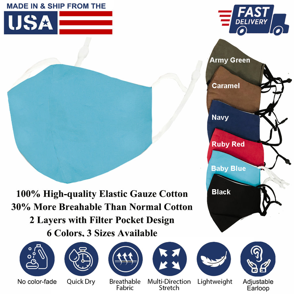 Multi-color 100% Elastic Gauze Cotton Washable Reusable Covering Masks Clothing Unisex