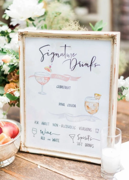 Wood Custom Handwritten Wedding Cocktail Bar Menu Calligraphy Sign