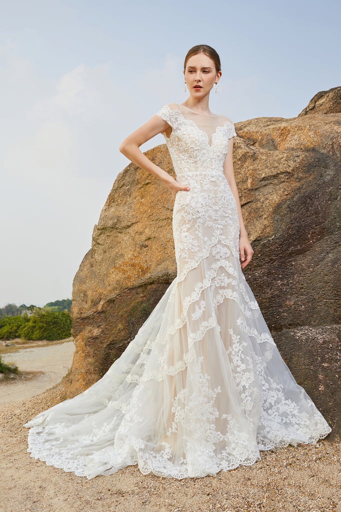 Rosiana - Selena Huan crystal and pearl beaded Chantilly lace illusive back mermaid gown