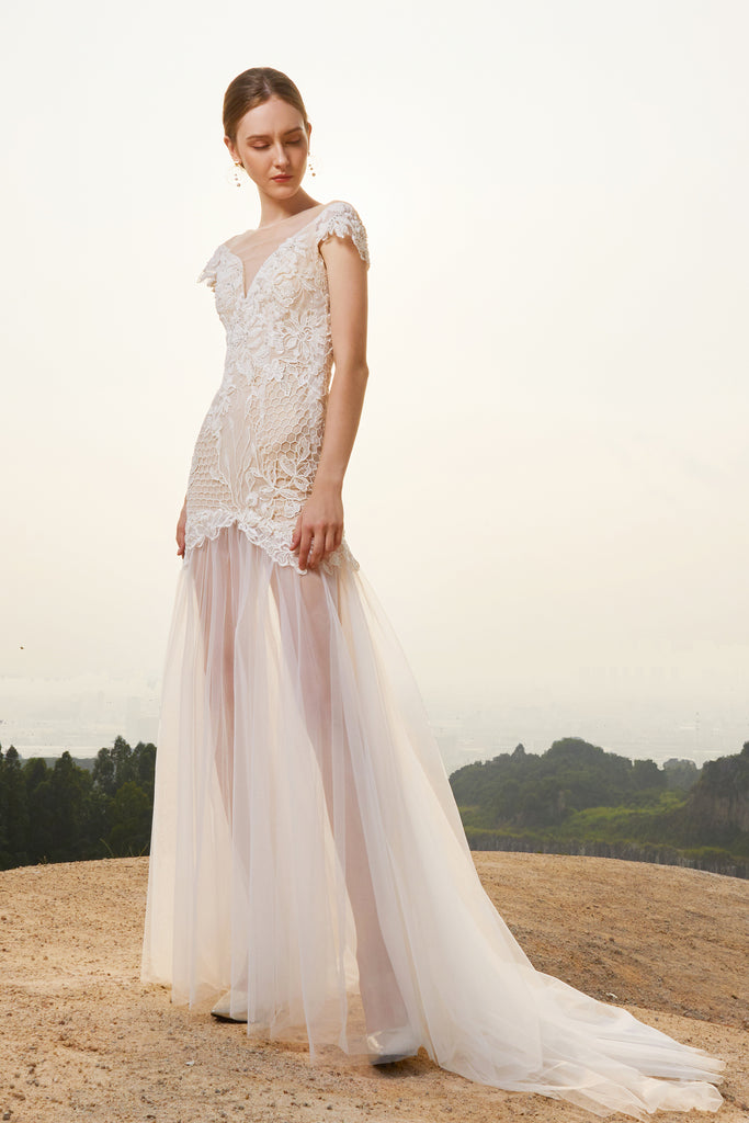 Estela - Selena Huan off-the-shoulder crystal and pearl beaded Israel lace illusive back light mermaid gown
