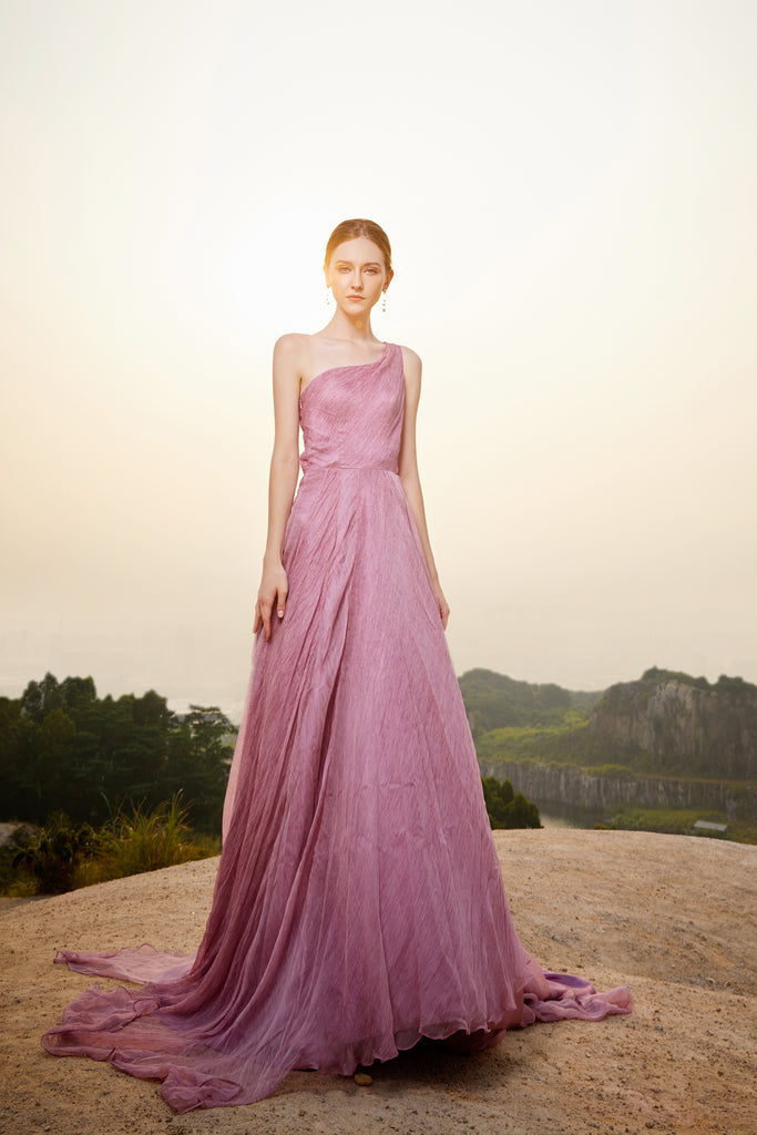 Violet - Selena Huan lavendar color vintage crinkle chiffon prom bloom-shape one-shoulder ball gown
