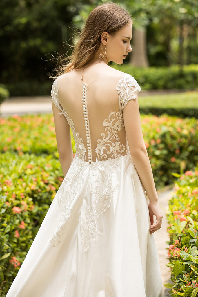 Solance - Selena Huan Venice Floral embroidery lace cape-shoulder long-train satin ball gown