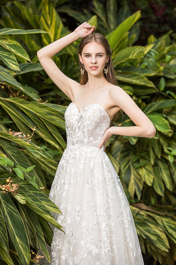 Alma - Selena Huan Venice Floral Embroidery lace strapless ballgown dress with detachable off-the-shoulder sleeves