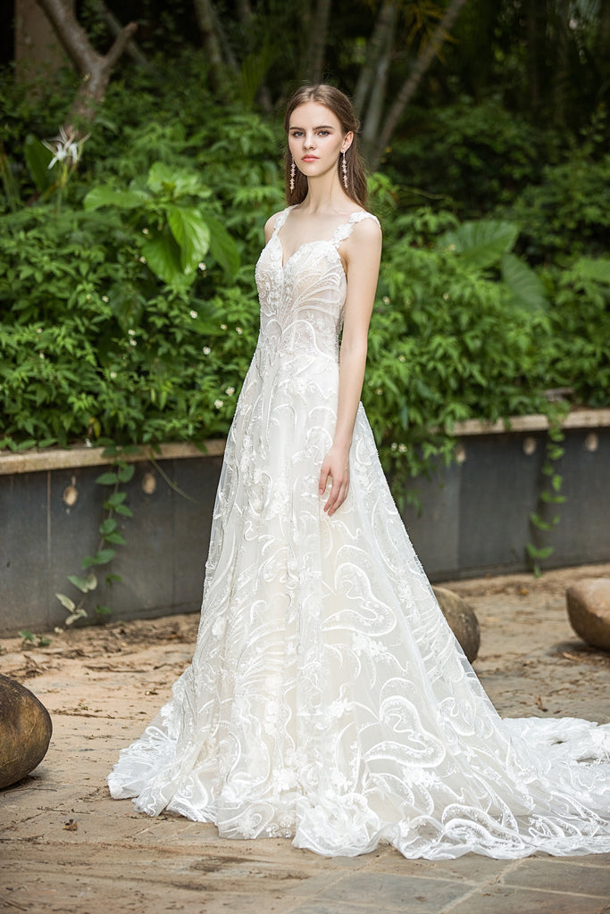 Fabiana - Selena Huan Milan Sequin Embroidery Water-wave Lace glowing A-line gown
