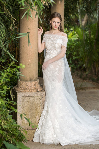 Coco - Selena Huan Sheer strapless floral embroidery lace mermaid gown with detachable off-the-shoulder cape
