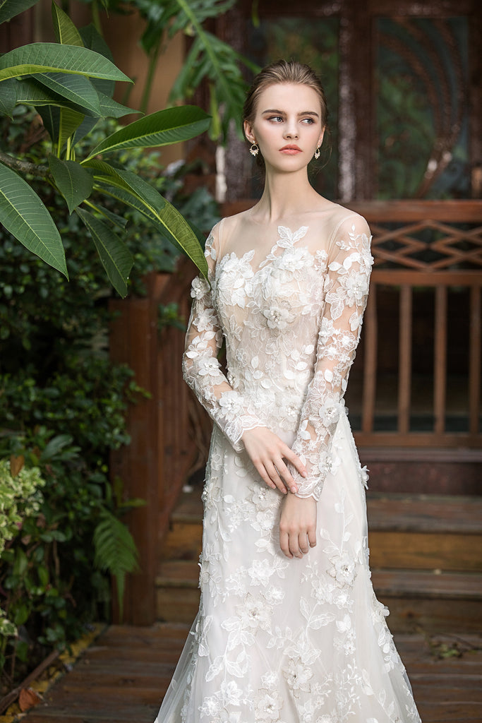 Camillia - Selena Huan shimmering 3D embroidered lace appliqué released mermaid gown