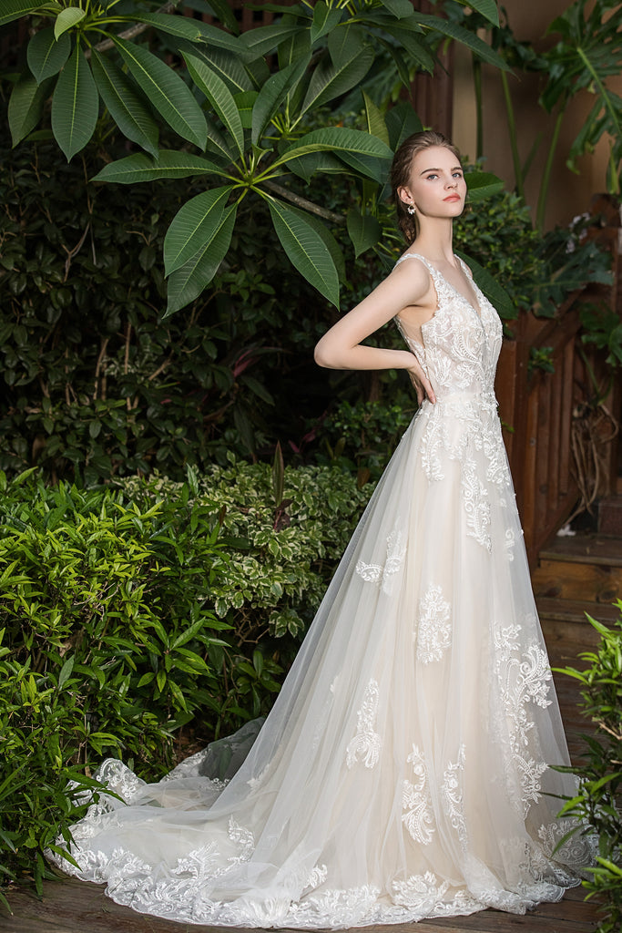 Thea - Selena Huan shimmering embroidered Italy lace V-neck ballgown dress