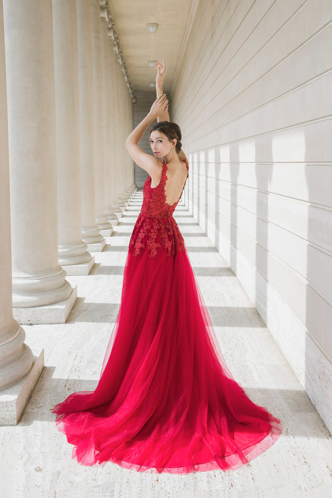 Mysteria - Selena Huan ruby red V-neck lace light-weighted low-back A-line gown