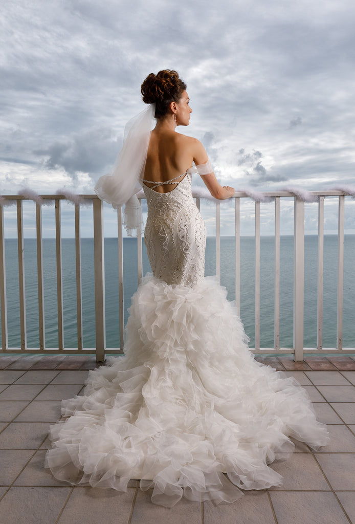Aurora - Art-Deco Beaded Crystal Mermaid Wedding Dress with Detachable Trian and off-shoulder Sleeves