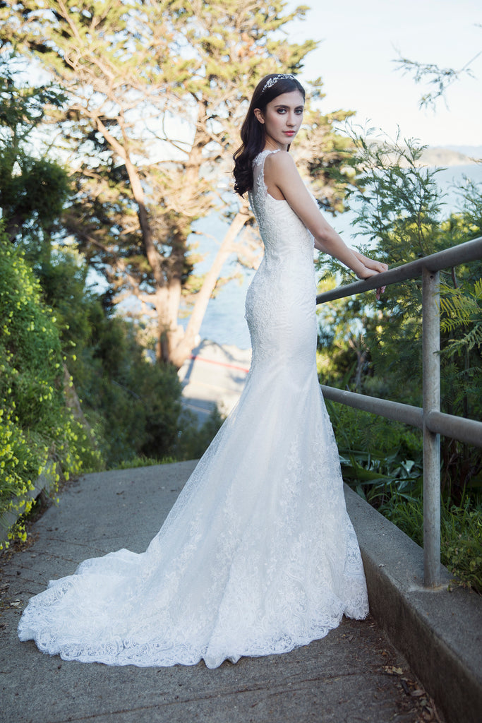 Atelier - Selena Huan Frosted Alençon Lace illusive back Mermaid gown