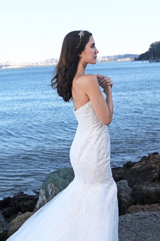 Sweet Marguerit - Selena Huan Strapless Beaded Abstract Chantilly Lace Mermaid Gown