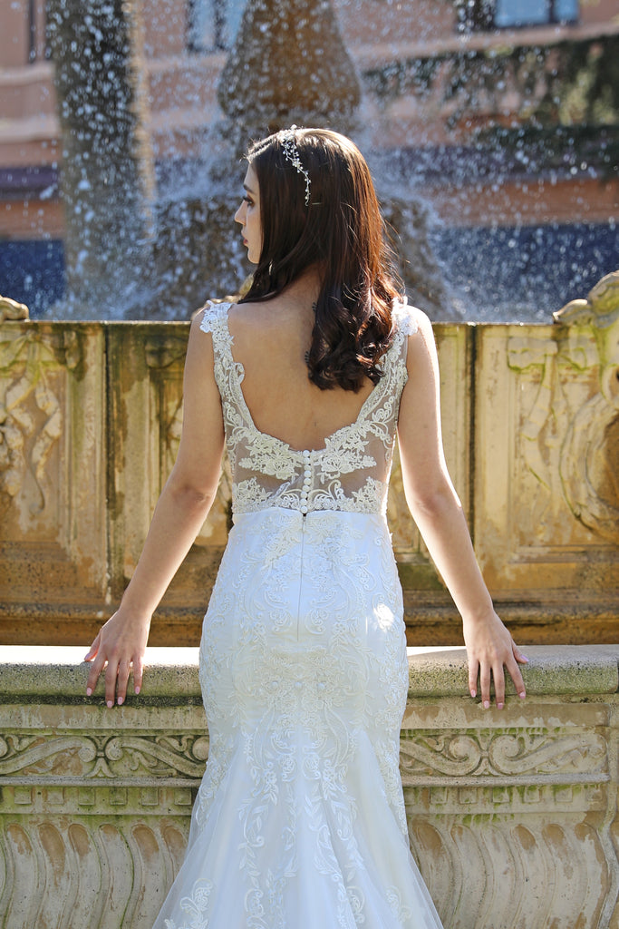 Katerina - Selena Huan V-neckline chantilly lace beaded mermaid dress