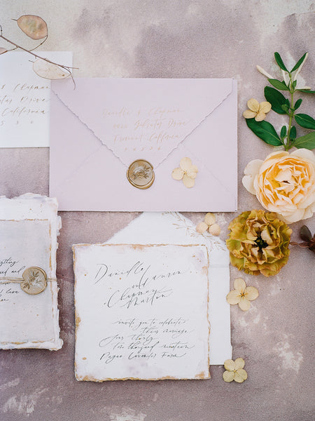 Custom Handwritten Wedding Calligraphy Fine Art Invitation Suit