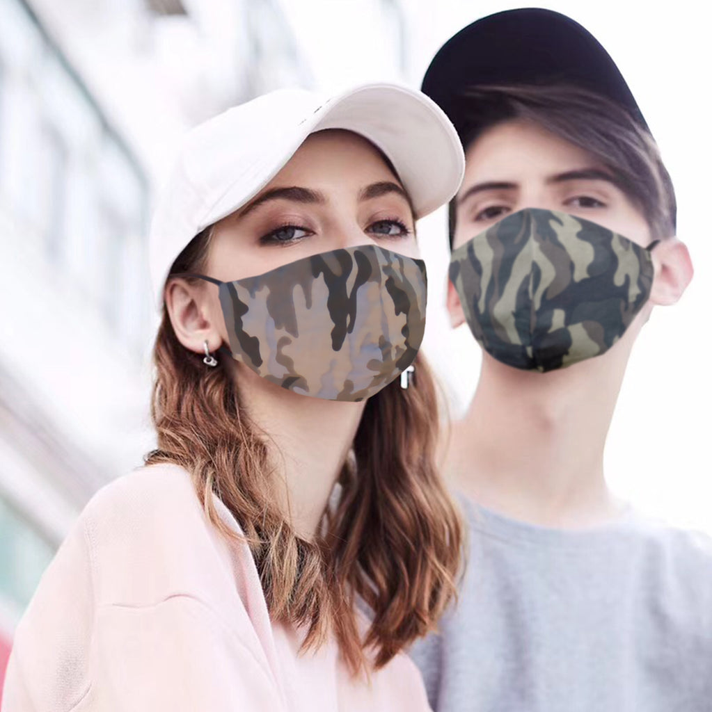 Camouflage-color 100% Elastic Jacquard Cotton Washable Reusable Covering Masks Clothing Unisex