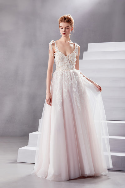 Beverly - Selena Huan 3D pearl and sequin beaded Floral Embroidery lace sweetheart strap ball gown wedding dress