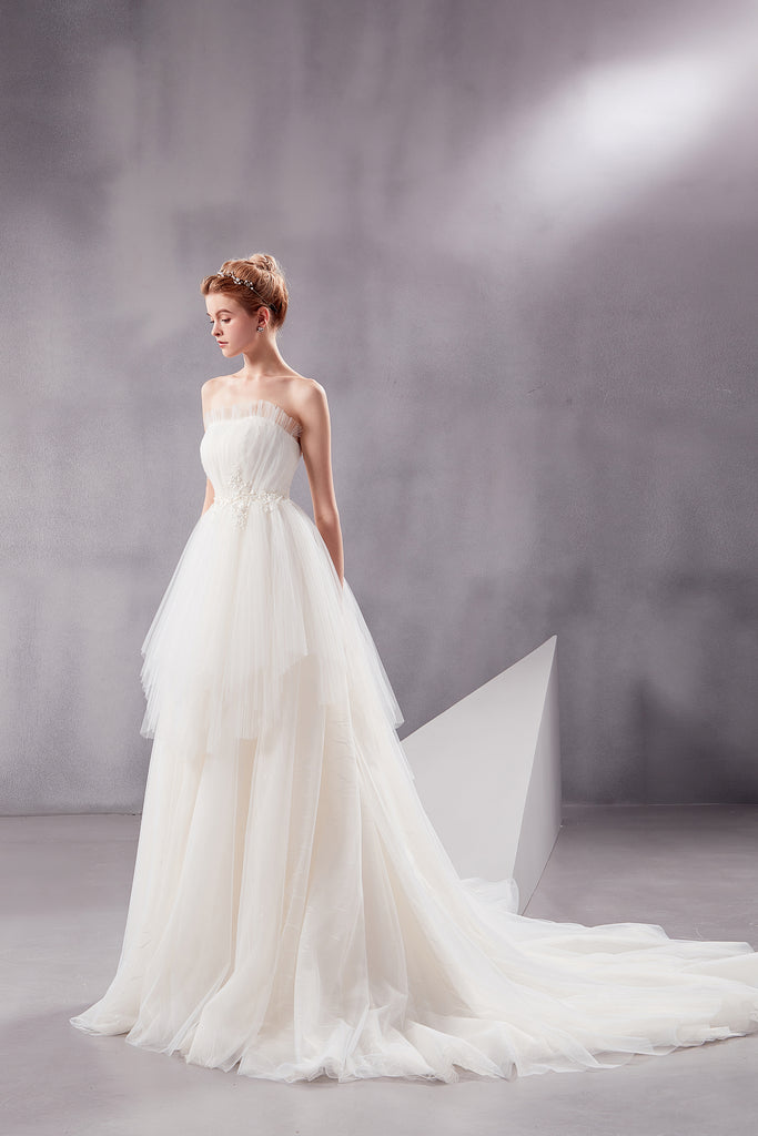 Afina - Selena Huan strapless water-wave lace vertical-wrinkle ruffle ball gown wedding dress
