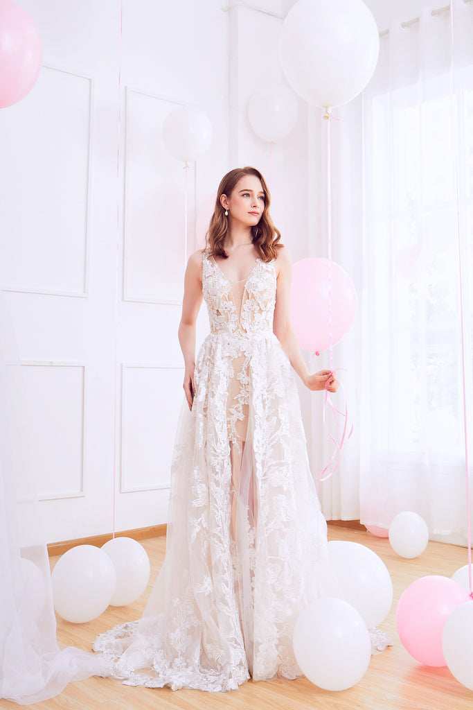 Klaire - Selena Huan Venice Fosted Embroidery Lace illusive A-line gown