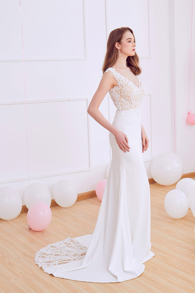 Olivia - Selena Huan Venice Fosted Embroidery Lace V-neck crepe gown