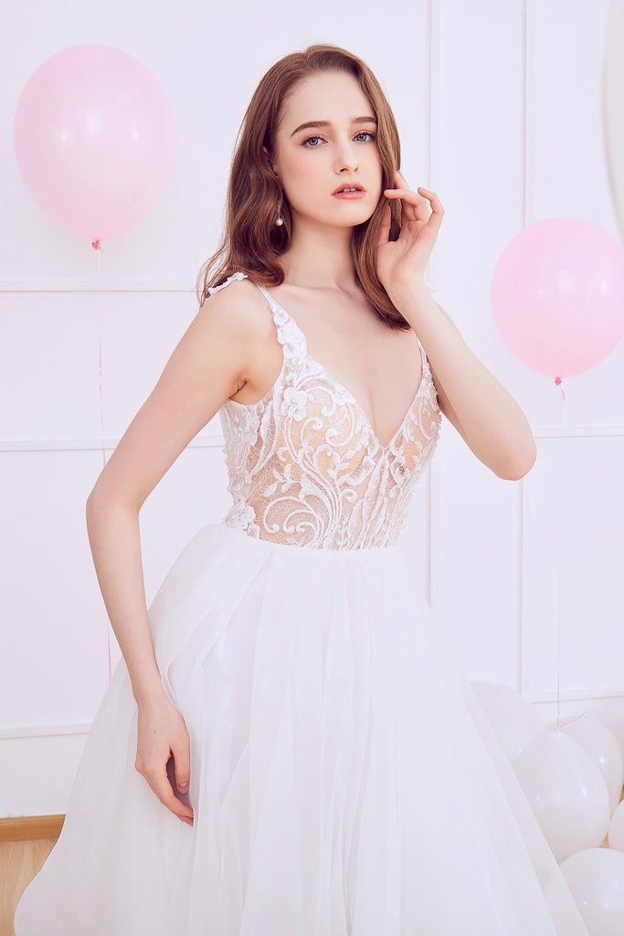 Lavender - Selena Huan Italy Sequin Embroidery Lace Strap Ruffled Ball Gown