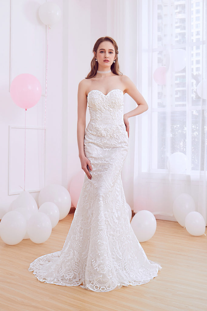 Yannia - Selena Huan French Chantilly lace strapless mermaid gown