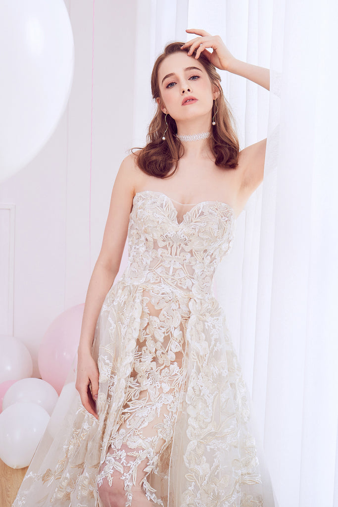 Oxalis - Selena Huan Gold-Shaded Venice Fosted Embroidery Lace illusive strapless A-line gown