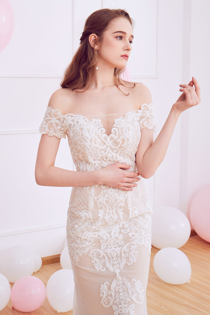 Cecile - Selena Huan beaded off-the-shoulder embroidery Venice lace fit-and-flare gown