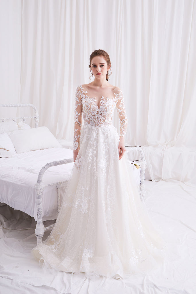 Syrinx - Selena Huan Long Sleeves Water-waive Embroidery French Floral Lace A-line Gown