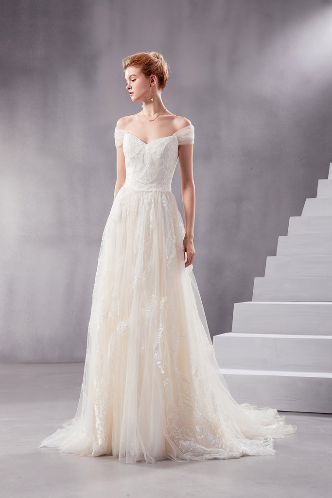 Vera - Selena Huan off-the-shoulder sequin beaded fine embroidery twig laces A-line wedding dress