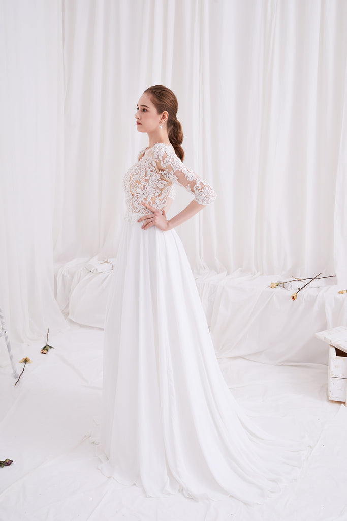 Sage - Selena Huan Alencon Fosted Sequin Embroidery Lace V-neck Milan imported chiffon gown