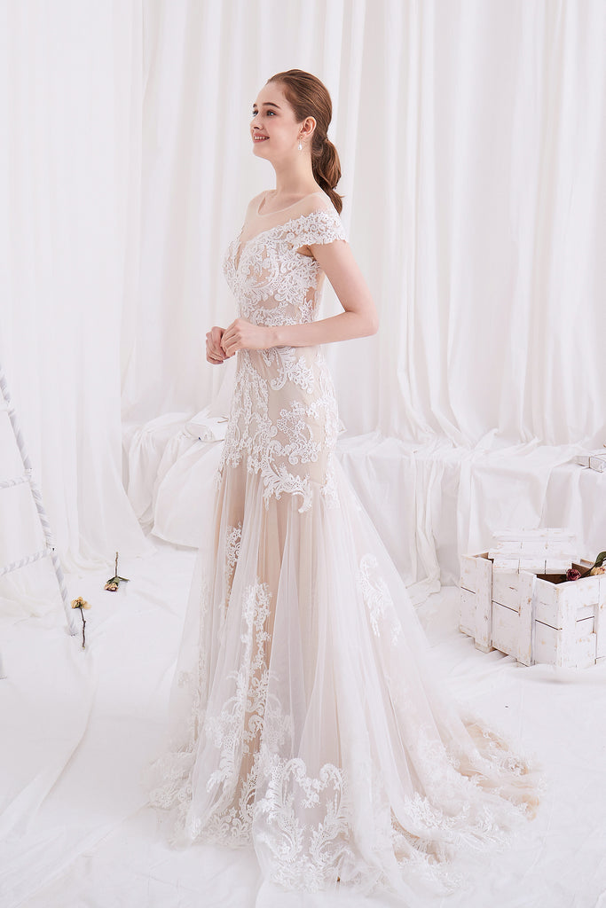 Victoria - Selena Huan off-the-shoulder Alenchon embroidery lace mermaid gown