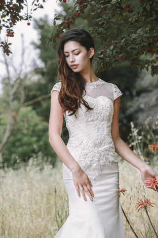 Le Victoria - Selena Huan Pearl Beaded Lace Short-sleeve Mermaid Gown