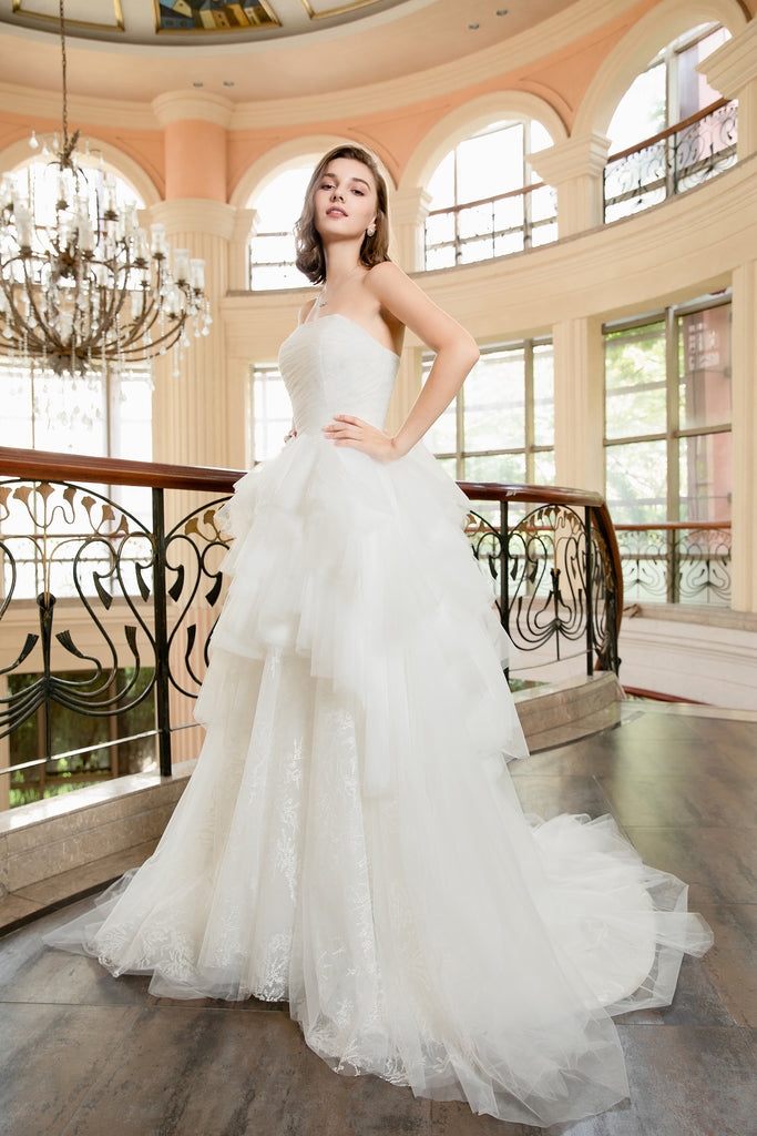 Jasmin - Selena Huan Strapless Hand Draped Tulle Ruffled Embroidery Lace Ball Gown