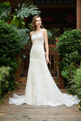 Roseli - Selena Huan light-weighted Asymmetric Lace Illusion Trumpet Gown