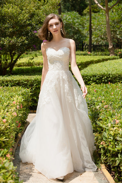 Ochid - Selena Huan strapless Alencon Embroidery lace glowing A-line gown