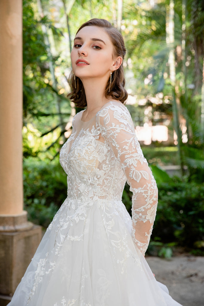 Tess - Selena Huan Long Sleeves Embroidery French Floral Lace Ruffled Skirt A-line Gown