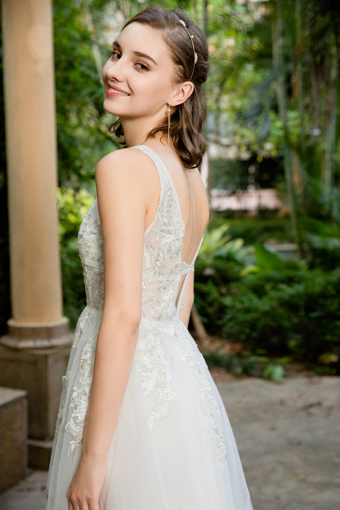 Lucia - Selena Huan deep V-neck Silver-shades embroidery lace light-weighted low-back A-line gown