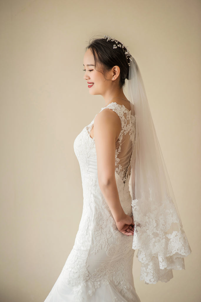 Loretta - Selena Huan Frosted Alençon Lace illusion back fit and flare wedding dress