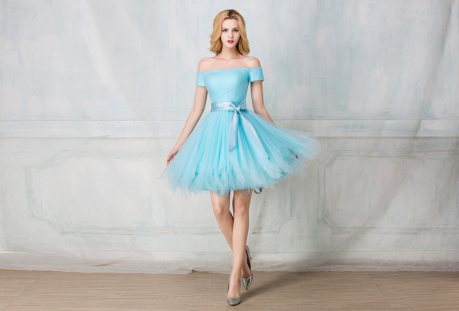 Tulle knee length bridesmaid dress selenahuanbridal tulle knee length bridesmaid dress ombrellifo Images