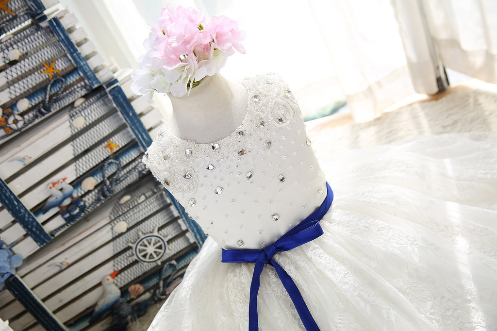 Pearl and Swarovski crystals beaded daisy laces flower girls dress