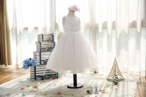 Silver beaded Alençon lace soft-tulle flower girls dress