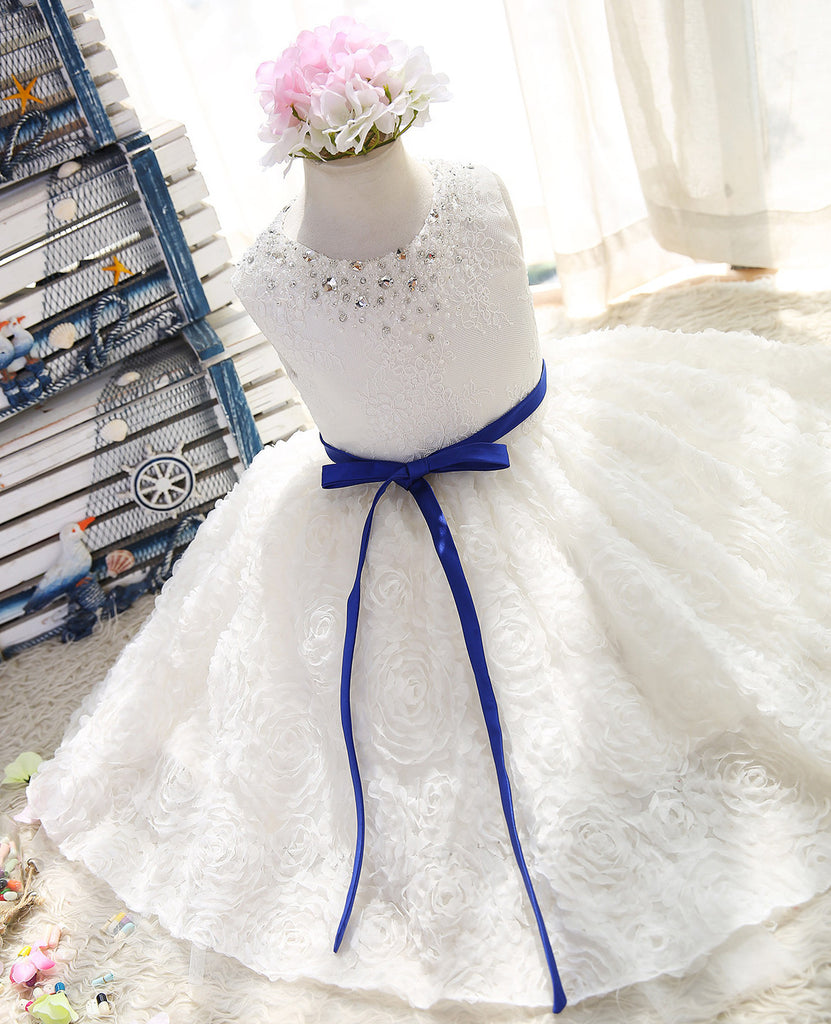 3D floral water- soluble lace hem flower girls dress