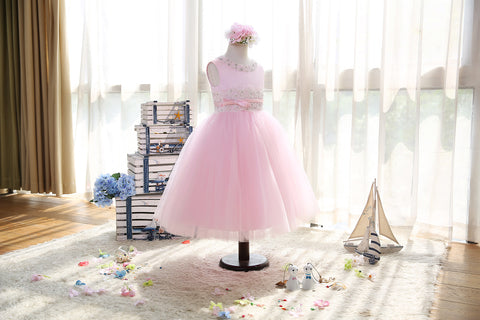 Pink beaded Chantilly lace soft-tulle flower girls dress
