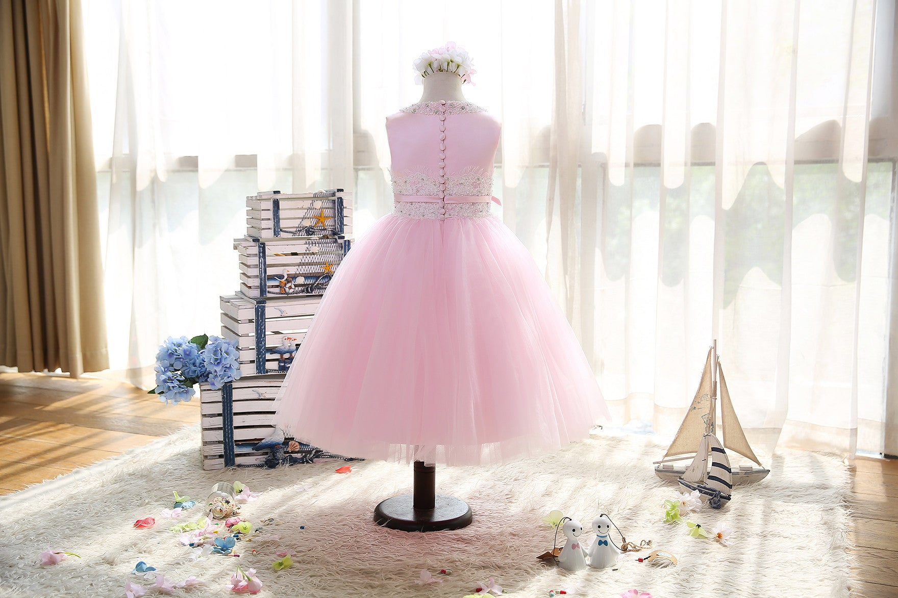 Pink Beaded Chantilly Lace Soft Tulle Flower Girls Dress