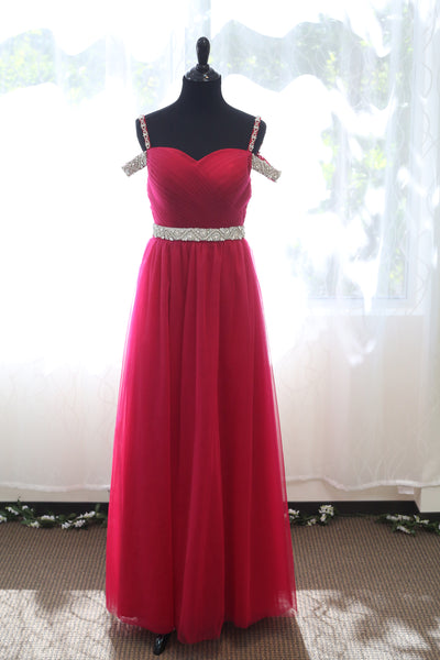 Crystal Beaded Off-shoulder Ruby Red Japanese Soft Tulle A-line Prom Dress