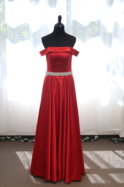 Off-shoulder Ruby Red Japanese Soft Satin A-line Prom Dress