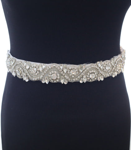 Czech Rhinestone and Silver Beaded Crystal simple classic wedding Dress Sash